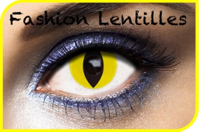 Lentilles Fantaisie Yellow Cat Oeil De Chat 1 an